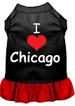 I Heart Chicago Screen Print Dog Dress Black with Red XS (8)